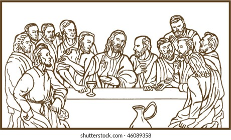 vector illustration of the last supper of Jesus Christ the savior and his disciples