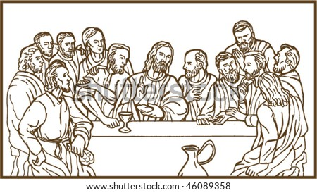 Vector Illustration Last Supper Jesus Christ Stock Vector Royalty