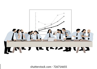 Vector illustration of the last supper. The parody of business meeting.