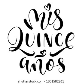 Vector illustration for Latin American girl 15 birthday celebration. Mis quince anos - black text in Spanish my fifteen years old.