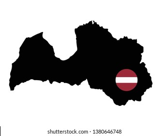 vector illustration of Latvia map and flag