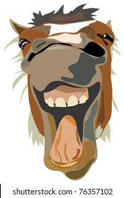 Vector Illustration of the laughing horse isolated