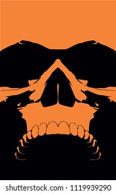 A vector illustration of a laughing or  snarling  skull.  Perfect for all of your Halloween,  metal, punk, or biker needs. Beautifully evil  at an 11x17 aspect ratio with two  colors.