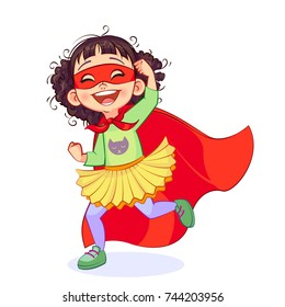 Vector illustration of the laughing Super Girl making gesture of the winner in a jump. Cutout happy child in super hero costume.