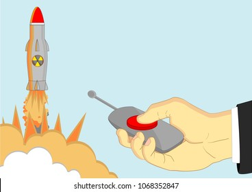 Vector illustration of launching nuclear missile with exposions by pressing the red alarm button on console by hand of politician.