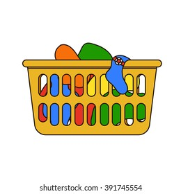 Vector illustration of laundry basket. Thin line icon of loundry basket with dirty clothes