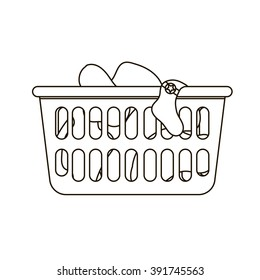 Vector illustration of laundry basket. Thin line icon of loundry basket with dirty clothes. Black and white