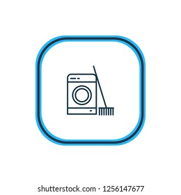 Vector illustration of laundry icon line. Beautiful hotel element also can be used as washing machine icon element.