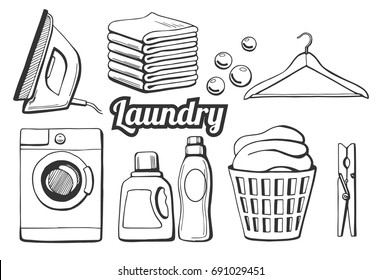 Vector illustration of a laundry icons set. Different objects: iron, towels pile, soap bubbles, hanger, washing machine, washing chemicals bottles as gel and softener, laundry basket, clothespin.