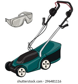 Vector illustration, lawn mower, cartoon concept, white background.
