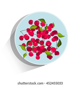 Vector illustration in lay flat style. Sweet delicious berries of cherry lay on plate. Object isolated on white background with long shadow. Red, green, blue colors. Fresh summer food, 3/3