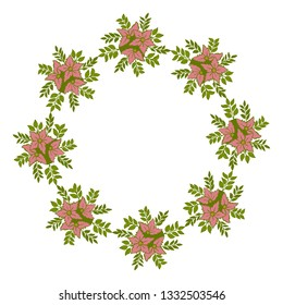 Vector illustration leaf floral frame with white background hand drawn