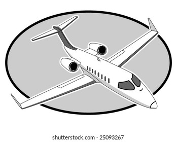 vector illustration of a Learjet airplane
