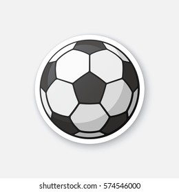 Vector illustration. Leather black and white soccer ball. Sports equipment. Cartoon sticker in comics style with contour. Decoration for greeting cards, posters, patches, prints for clothes, emblems