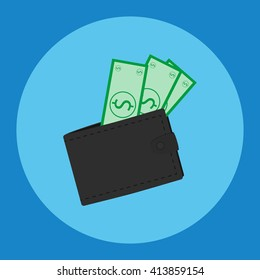 vector illustration. Leather wallet with dollars . vector icon