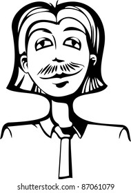 A vector illustration of a leering man.