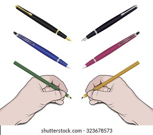 Vector illustration of left and right hand holding pencil and writing or drawing. There are options to change pen easily.