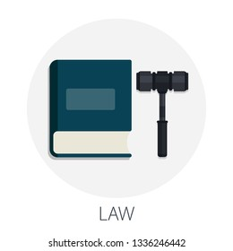 """Vector illustration of legal justice and justice law with """"law"""" legal judgment concept"""