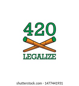 Vector illustration Legalize marijuana, 420 sticker with joint and hemp leaf