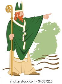 Vector Illustration of the legend of St. Patrick casting the snakes out of Ireland. St. Patrick, the snake and Ireland are each on separate layers and can be used individually.