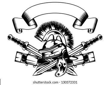 Vector illustration legionary helmet and crossed swords