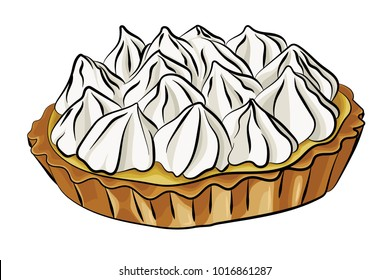 A vector illustration of lemon meringue pie isolated on a white background