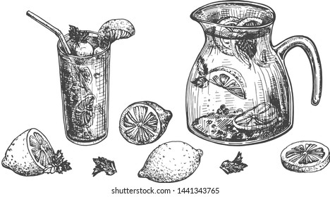 Vector illustration of lemons and lemonade set. Glass and carafe jar. Sparkling water and sliced citrus fruits summer cold fresh craft drink. Vintage hand drawn style.