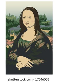 vector illustration of Leonardo da Vinci's Mona Lisa on stylized background