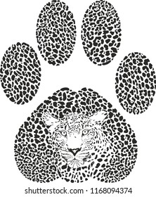 Vector illustration of a leopard camouflage in the shape of a leopards trace