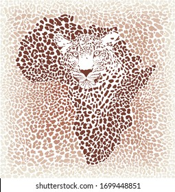 Vector Illustration Leopard Face of African wild big cat with Africa map