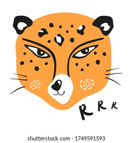Vector illustration of a leopard head with the inscription growl. Big wild cat. Leopard spots, predatory gaze, wild animal.