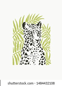 Vector illustration with leopard on floral background in linocut style. Hand drawn sketch of stylized jaguar for print.