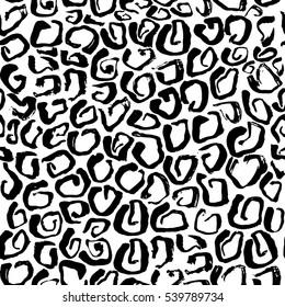 Vector illustration Leopard print seamless background pattern. Black and white background. Vector illustration