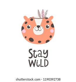 Vector illustration with leopard and text Stay wild.