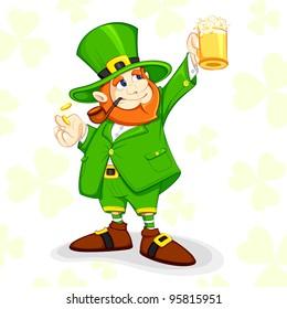vector illustration of Leprechaun celebrating Saint Patrick's Day