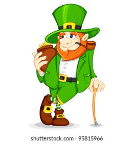 vector illustration of Leprechaun with gold coin pot