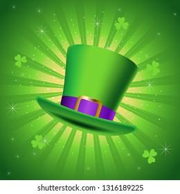 Vector illustration of leprechaun green hat, symbol of Saint Patrick's Day