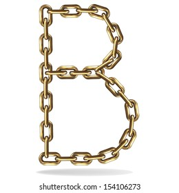 Vector Illustration of a letter B from a gold chain on a white background