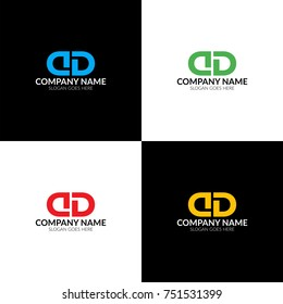 Vector illustration. Letter D and D logo, icon flat and vector design template. Monogram the letter d and d logotype for brand or company with text.