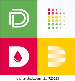 Vector illustration letter d set