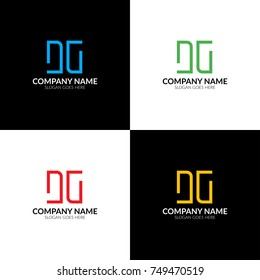 Vector illustration. Letter DG logo, icon flat and vector design template. Monogram the letter d and g logotype for brand or company with text.