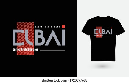 Vector illustration of the letter, DUBAI, perfect for the design of t-shirts, shirts, hoodies, undershirts, etc.