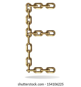 Vector Illustration of a letter E from a gold chain on a white background