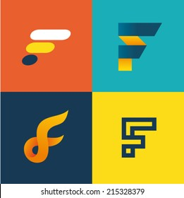 Vector illustration letter f set