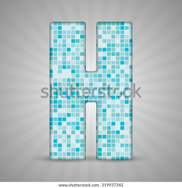 Vector illustration of letter H made of square blue mosaic. Vector alphabet, type, font with latin letters. Ornament with squares tiles for your floor, wall, bathroom, pool.