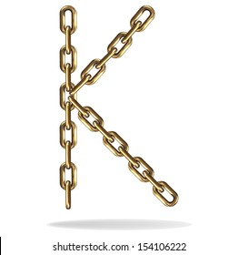 Vector Illustration of a letter K from a gold chain on a white background