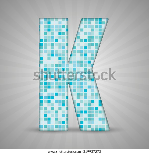 Vector illustration of letter K made of square blue mosaic. Vector alphabet, type, font with latin letters. Ornament with squares tiles for your floor, wall, bathroom, pool.