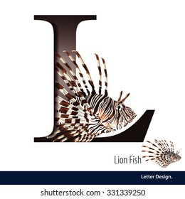 Vector illustration of Letter L is Lion fish alphabet. English abc with animals Education on White background.