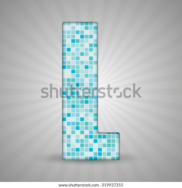 Vector illustration of letter L made of square blue mosaic. Vector alphabet, type, font with latin letters. Ornament with squares tiles for your floor, wall, bathroom, pool.