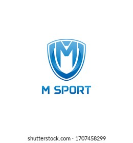vector illustration letter m with shield sport logo modern design